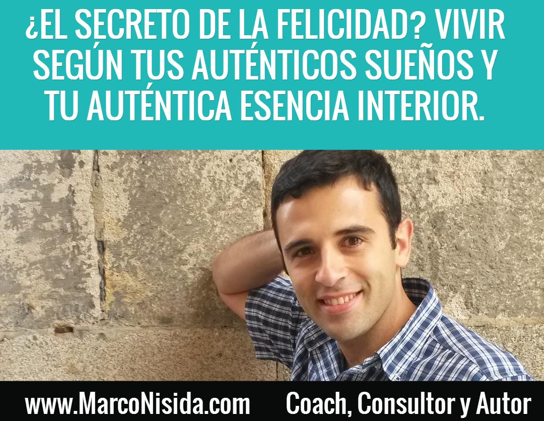 Frases de Motivación - El Secreto de la Felicidad Consiste en Vivir Según Tus Auténticos Sueños y Tu Auténtica Esencia Interior.